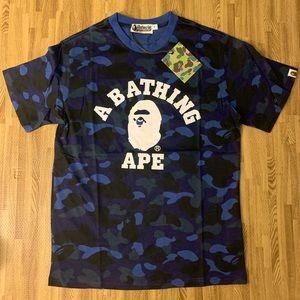 Bape ape face blue camo college tee